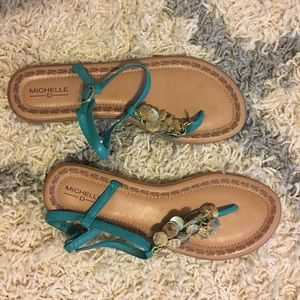 Shoes - Turquoise shell sandals